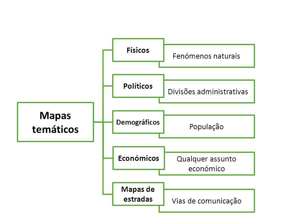 Mapas temáticos Físicos Fenómenos naturais Políticos
