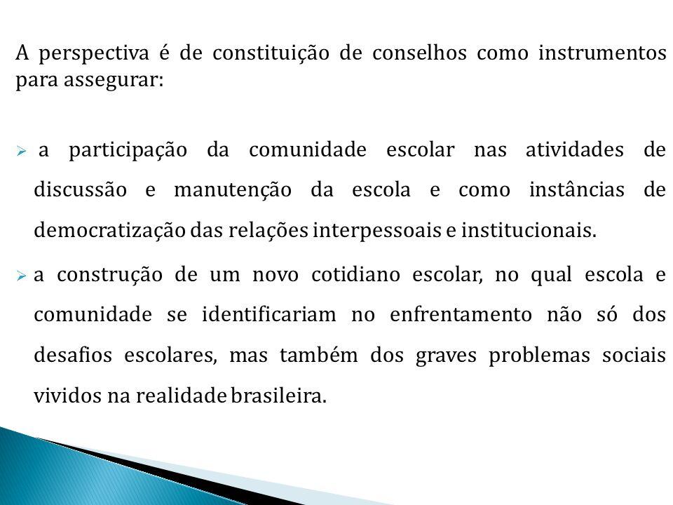 A perspectiva é de constituição de conselhos como instrumentos para assegurar: