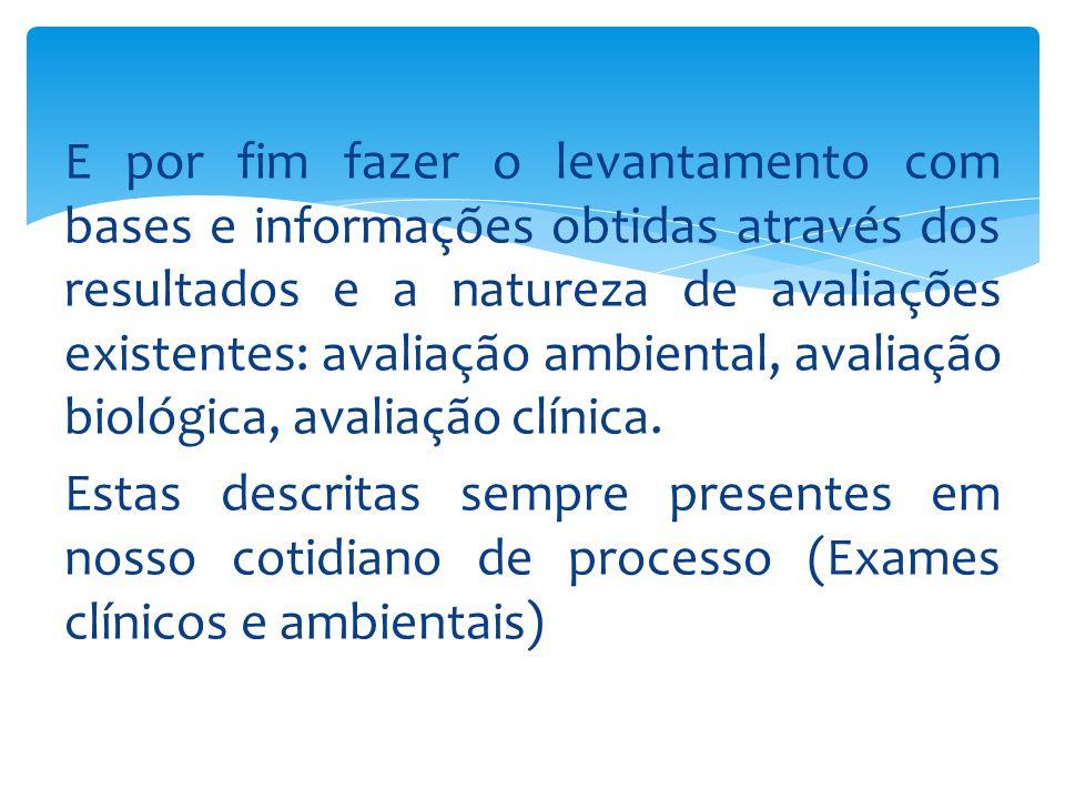 E por fim fazer o levantamento com bases e informações obtidas através dos resultados e a natureza de avaliações existentes: avaliação ambiental, avaliação biológica, avaliação clínica.