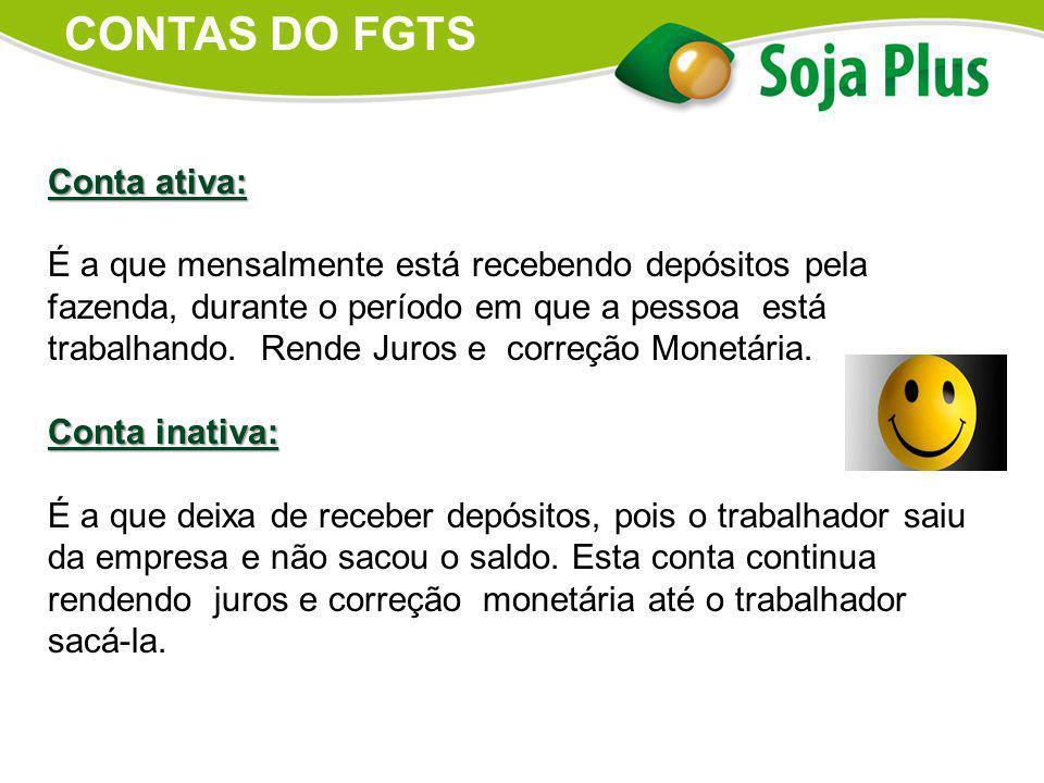 CONTAS DO FGTS Conta ativa: