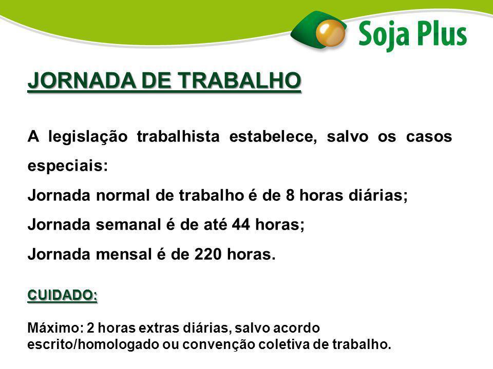 JORNADA DE TRABALHO A legislação trabalhista estabelece, salvo os casos especiais: Jornada normal de trabalho é de 8 horas diárias;