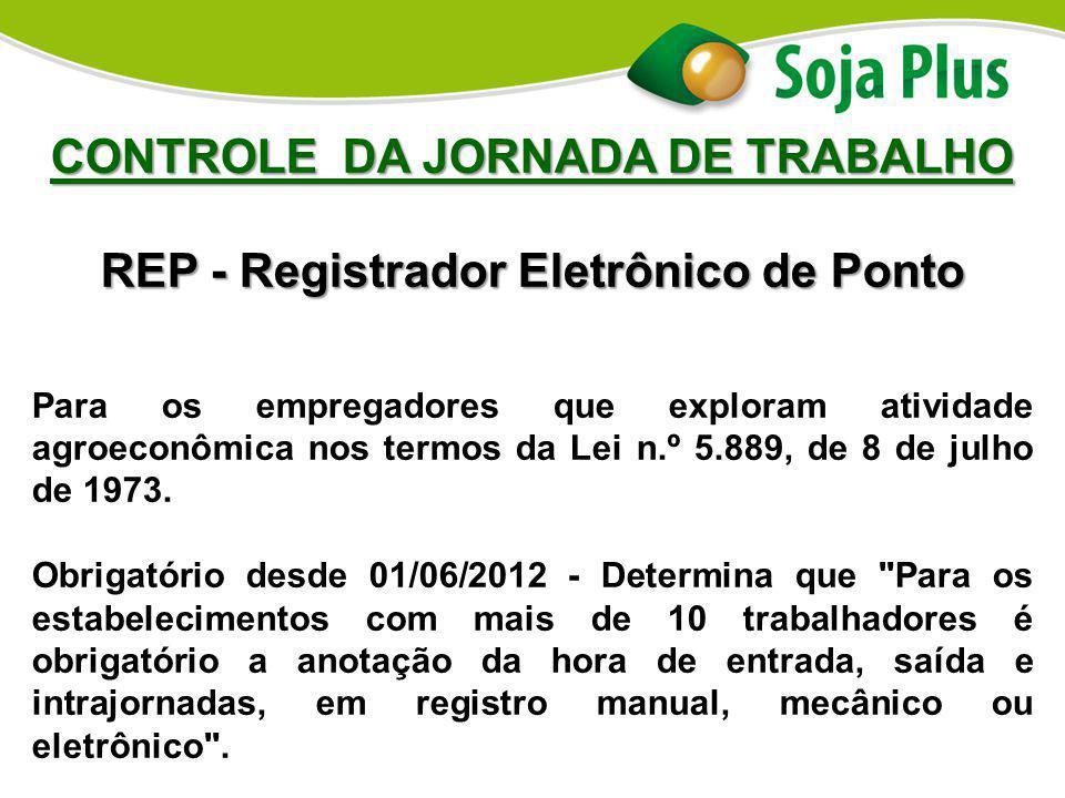 CONTROLE DA JORNADA DE TRABALHO REP - Registrador Eletrônico de Ponto