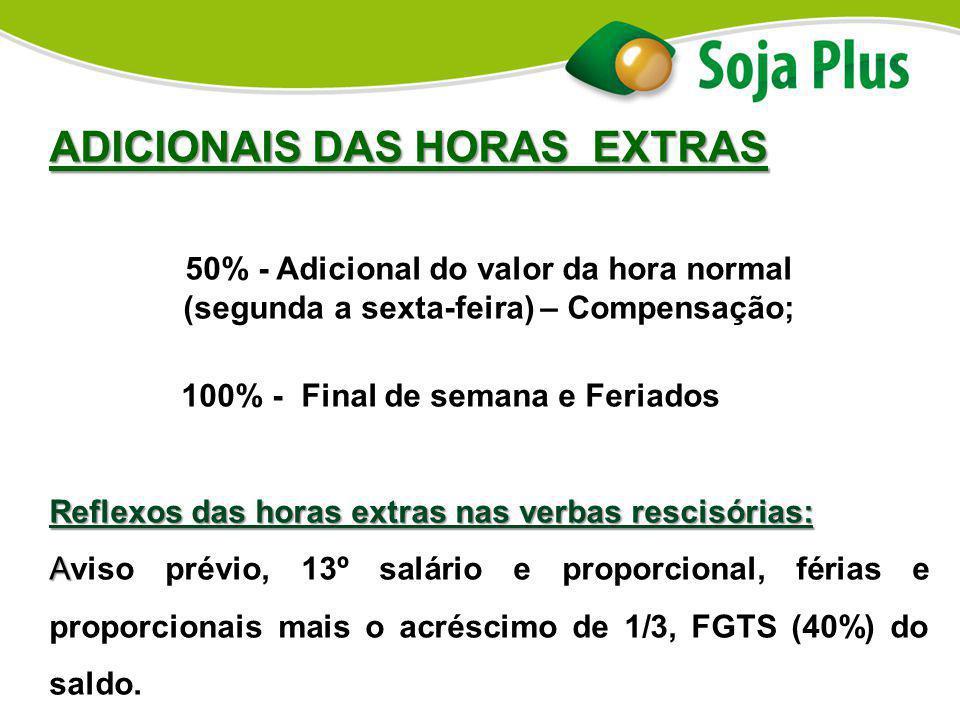 ADICIONAIS DAS HORAS EXTRAS