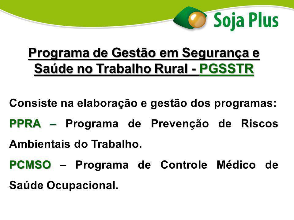 Programa de Gestão em Segurança e Saúde no Trabalho Rural - PGSSTR