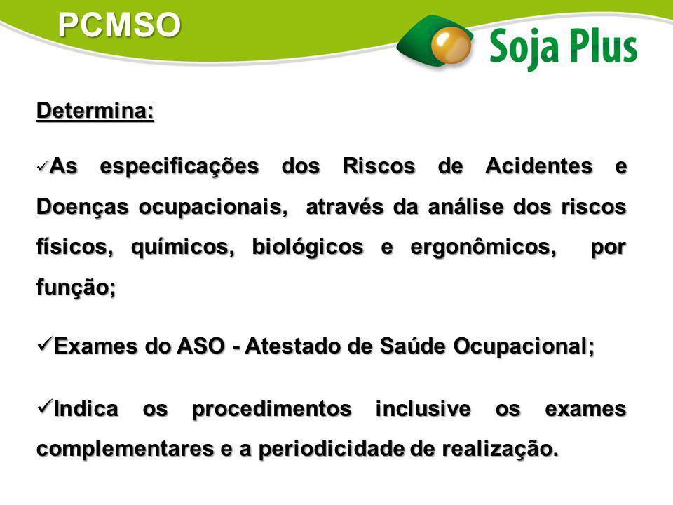 PCMSO Determina: Exames do ASO - Atestado de Saúde Ocupacional;