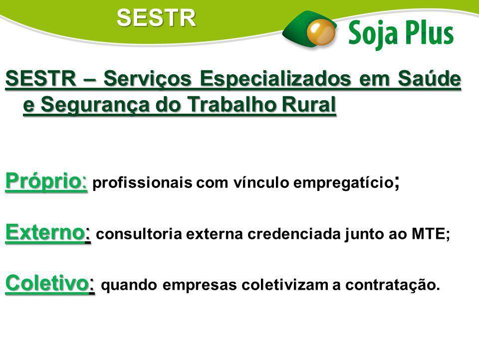 SESTR SESTR – Serviços Especializados em Saúde e Segurança do Trabalho Rural. Próprio: profissionais com vínculo empregatício;