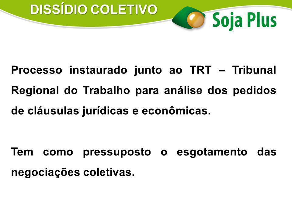 DISSÍDIO COLETIVO Processo instaurado junto ao TRT – Tribunal Regional do Trabalho para análise dos pedidos de cláusulas jurídicas e econômicas.