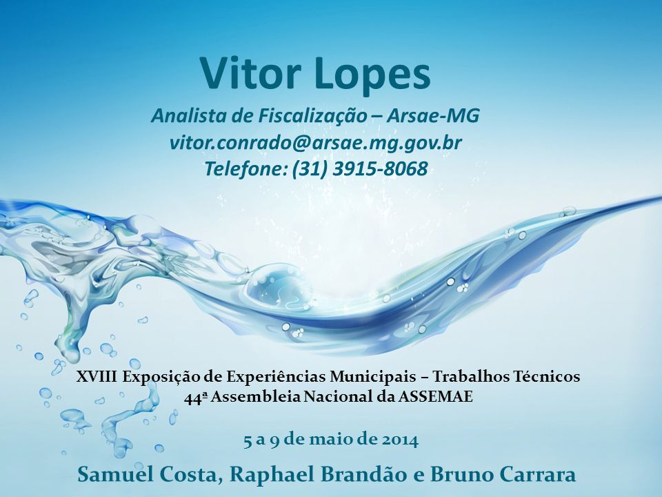 Vitor Lopes Analista de Fiscalização – Arsae-MG