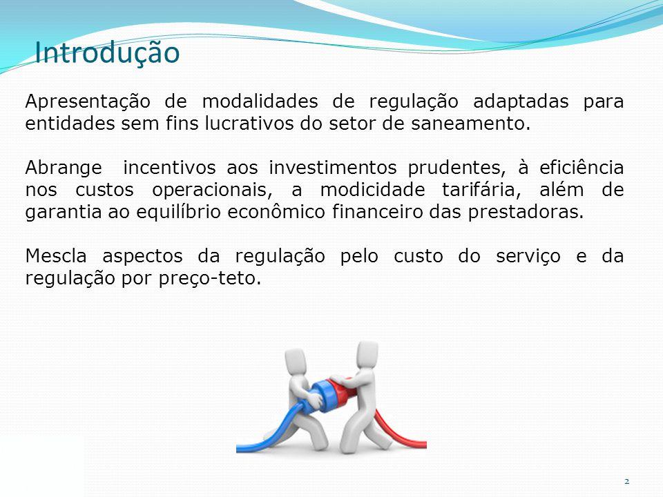 Introdução Apresentação de modalidades de regulação adaptadas para entidades sem fins lucrativos do setor de saneamento.