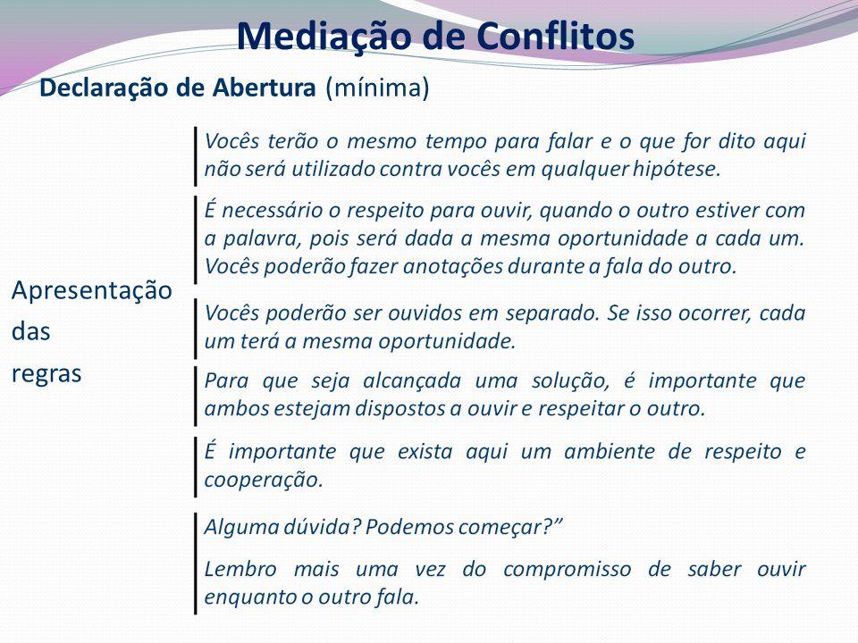 Mediação de Conflitos Declaração de Abertura (mínima) Apresentação das