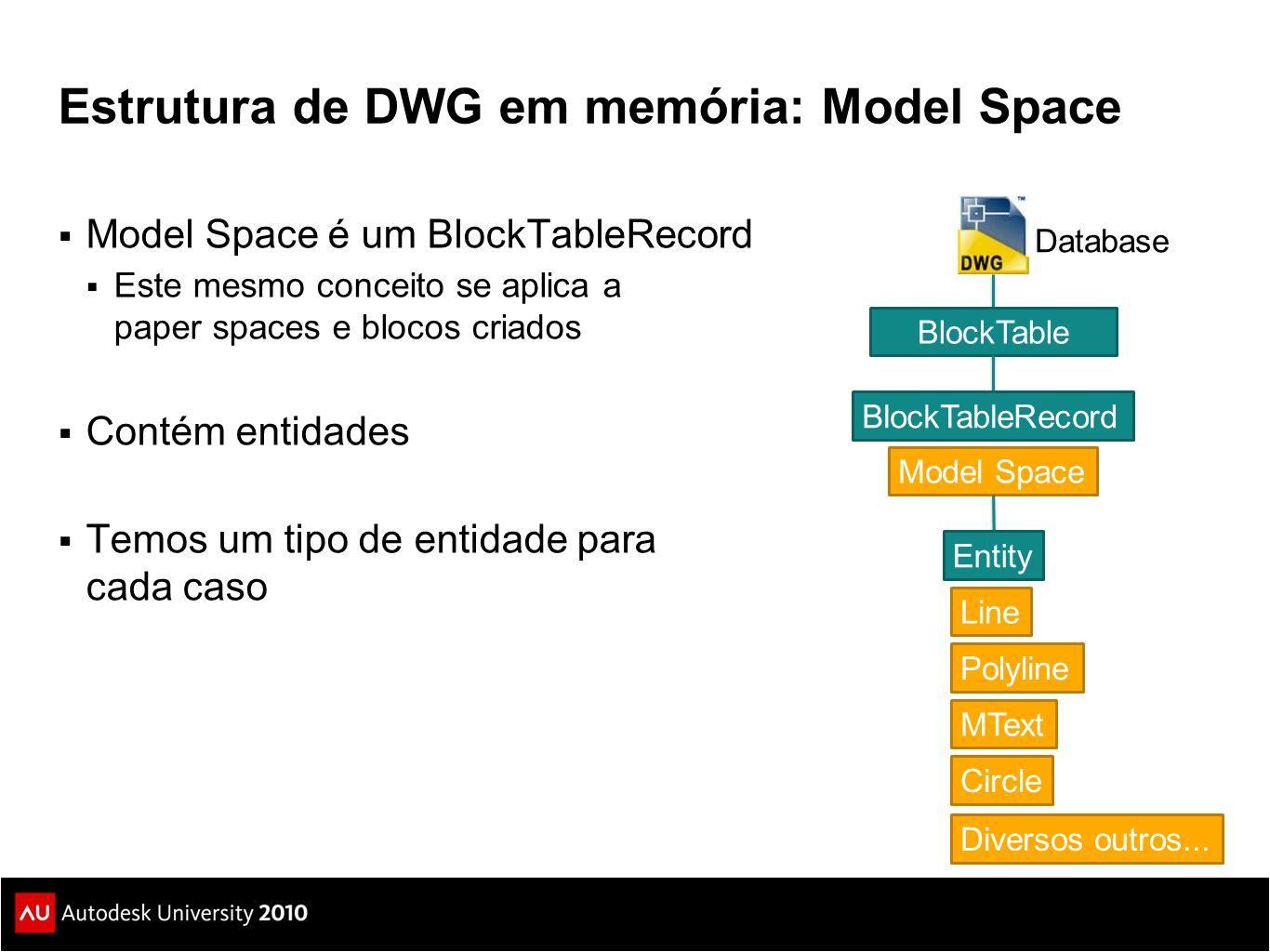Estrutura de DWG em memória: Model Space