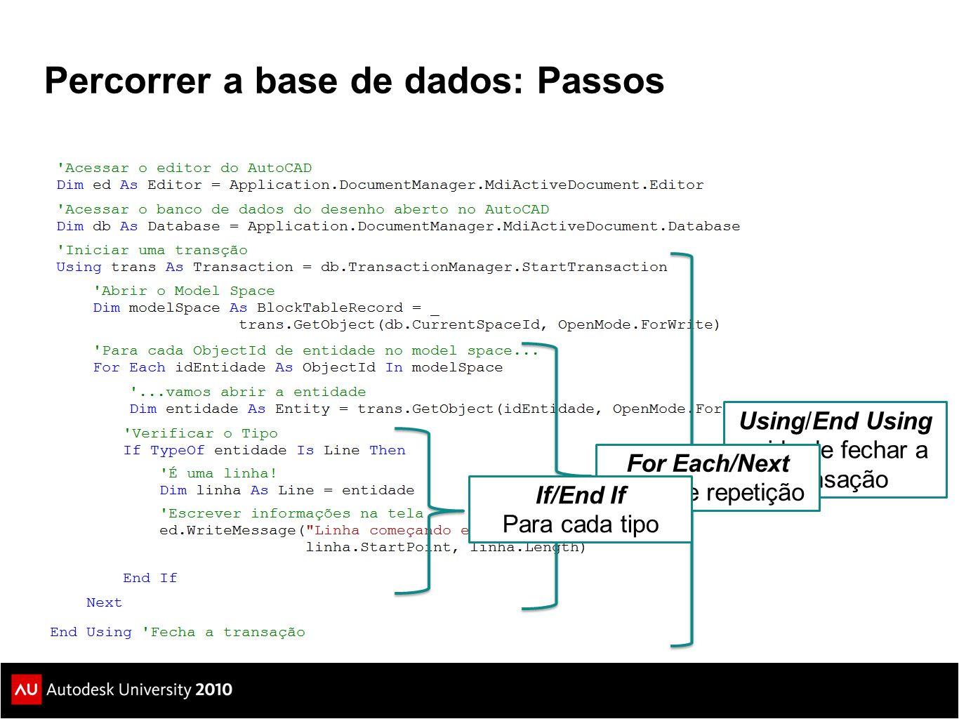 Percorrer a base de dados: Passos