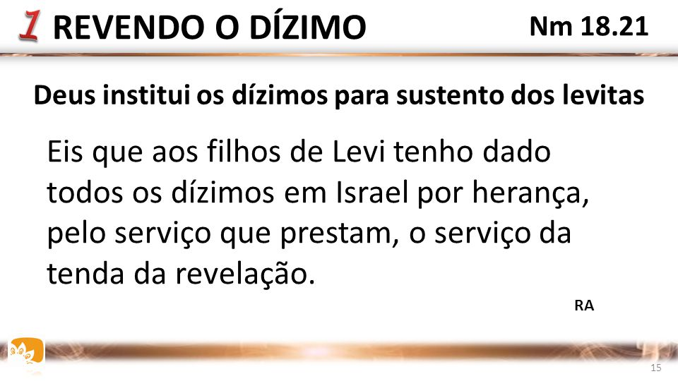 Deus institui os dízimos para sustento dos levitas