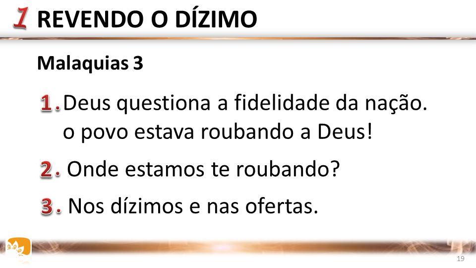 REVENDO O DÍZIMO 1 Deus questiona a fidelidade da nação.