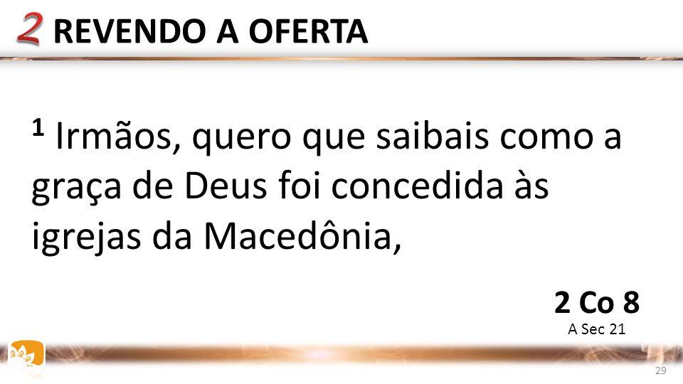 REVENDO A OFERTA 1 Irmãos, quero que saibais como a graça de Deus foi concedida às igrejas da Macedônia,