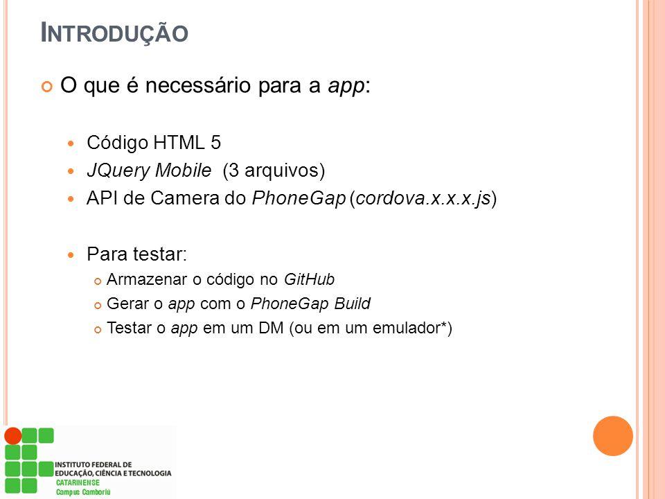Introdução O que é necessário para a app: Código HTML 5