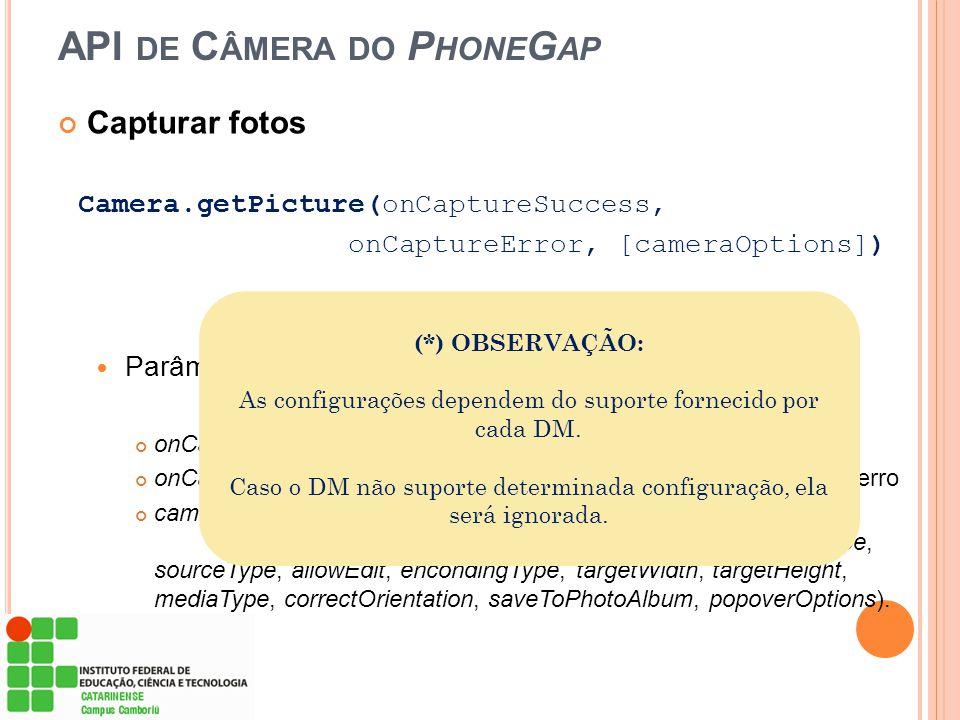 API de Câmera do PhoneGap