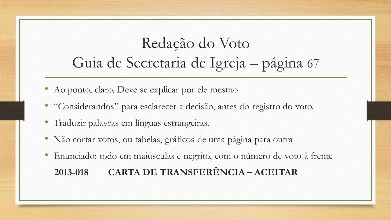 Redação do Voto Guia de Secretaria de Igreja – página 67