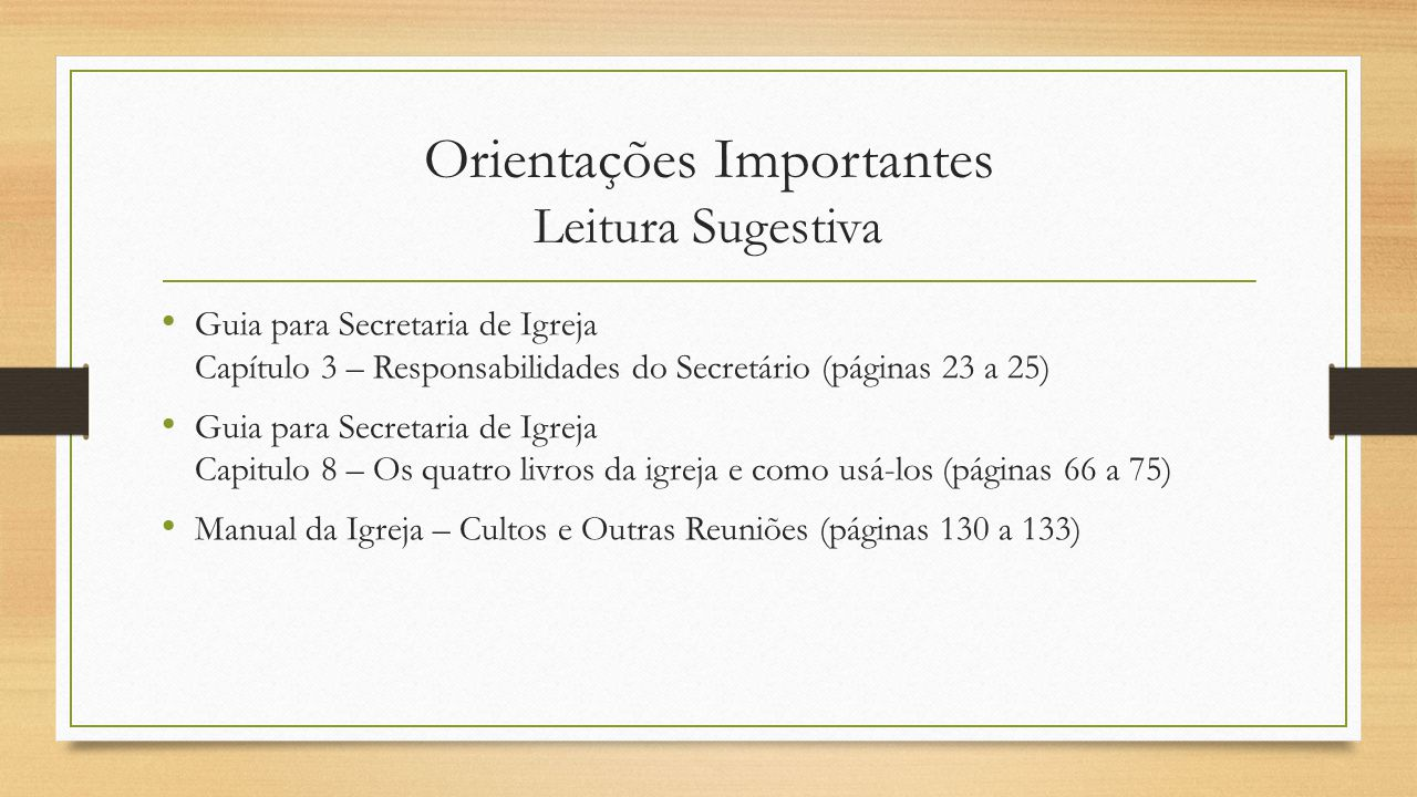 Orientações Importantes Leitura Sugestiva