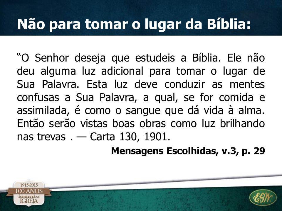 Não para tomar o lugar da Bíblia: