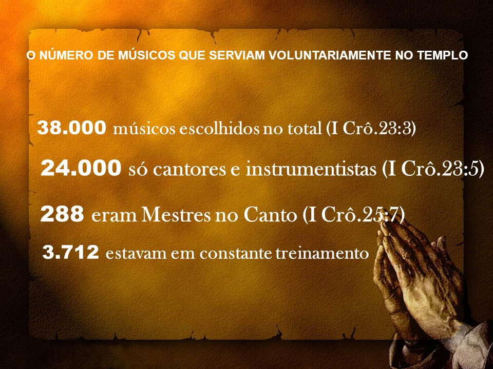 288 eram Mestres no Canto (I Crô.25:7)
