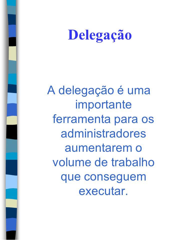 Delegação A delegação é uma importante ferramenta para os administradores aumentarem o volume de trabalho que conseguem executar.