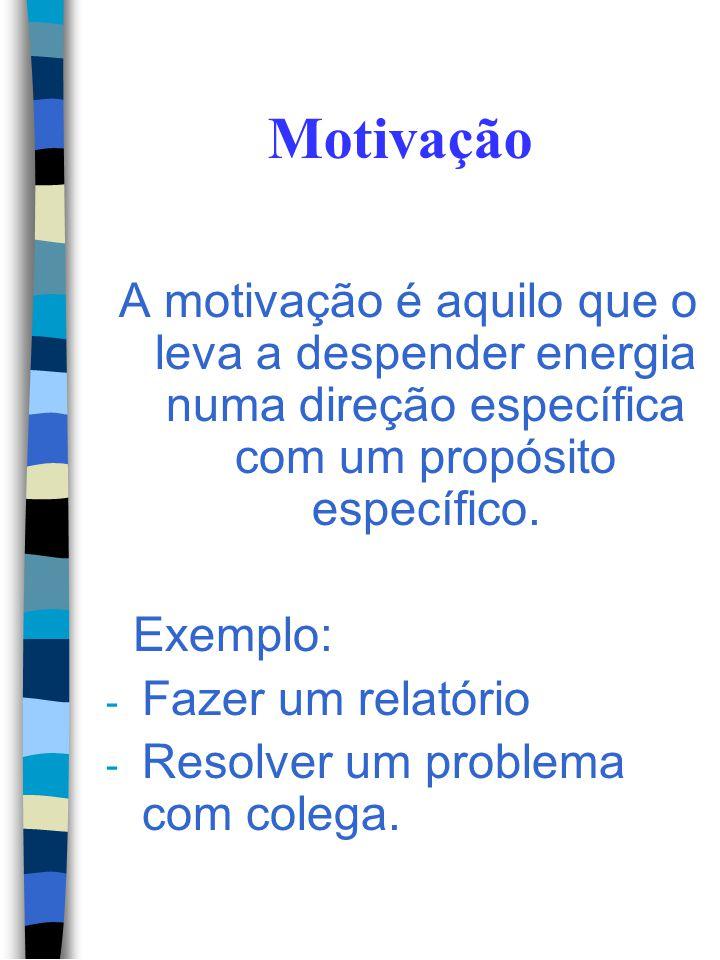 Motivação A motivação é aquilo que o leva a despender energia numa direção específica com um propósito específico.