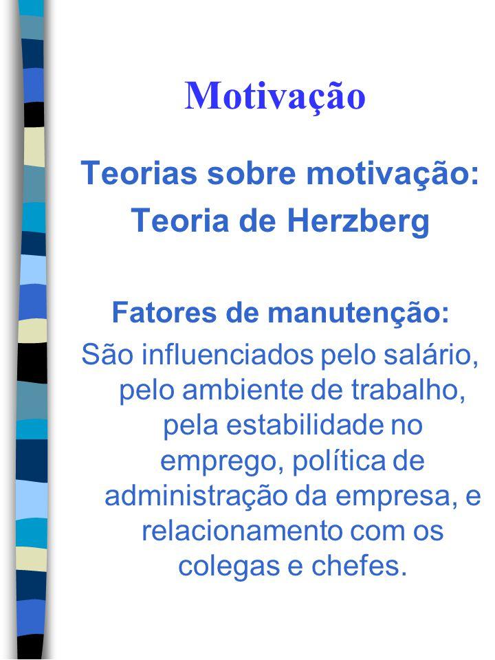 Teorias sobre motivação: Fatores de manutenção: