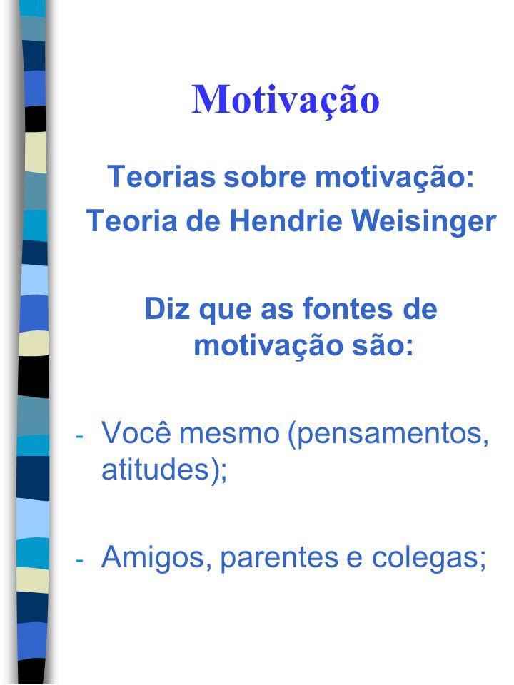 Motivação Teorias sobre motivação: Teoria de Hendrie Weisinger