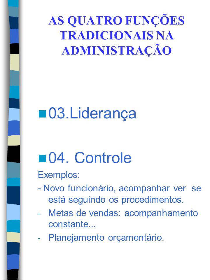 AS QUATRO FUNÇÕES TRADICIONAIS NA ADMINISTRAÇÃO