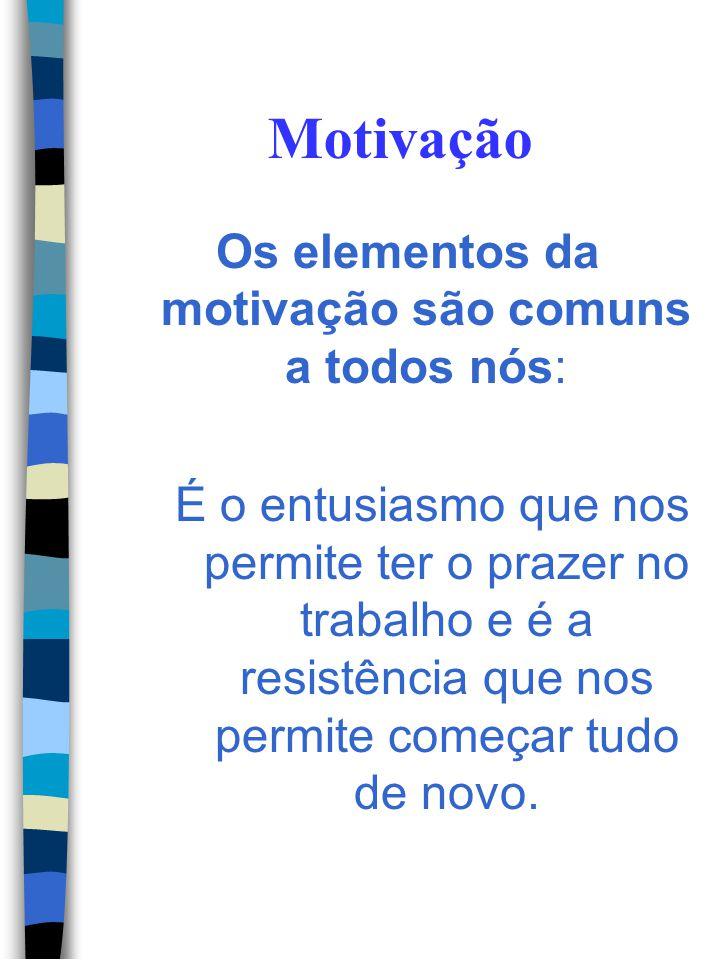 Os elementos da motivação são comuns a todos nós: