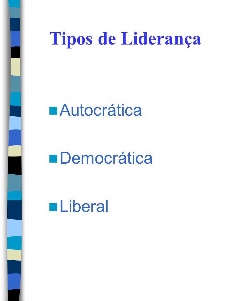 Tipos de Liderança Autocrática Democrática Liberal