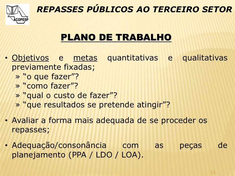 PLANO DE TRABALHO REPASSES PÚBLICOS AO TERCEIRO SETOR