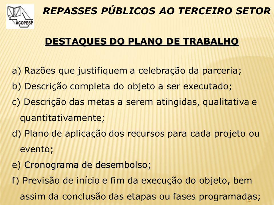DESTAQUES DO PLANO DE TRABALHO