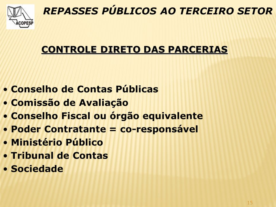 CONTROLE DIRETO DAS PARCERIAS