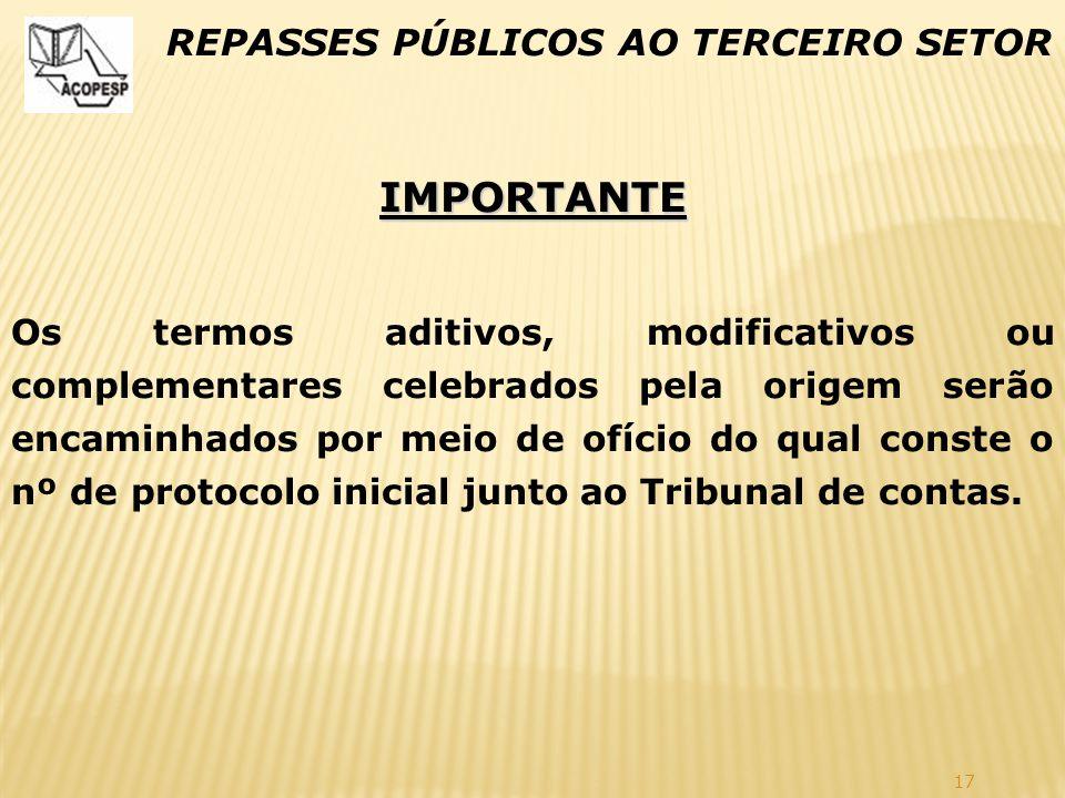 IMPORTANTE REPASSES PÚBLICOS AO TERCEIRO SETOR