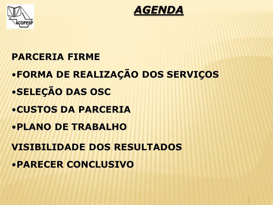 AGENDA PARCERIA FIRME FORMA DE REALIZAÇÃO DOS SERVIÇOS SELEÇÃO DAS OSC