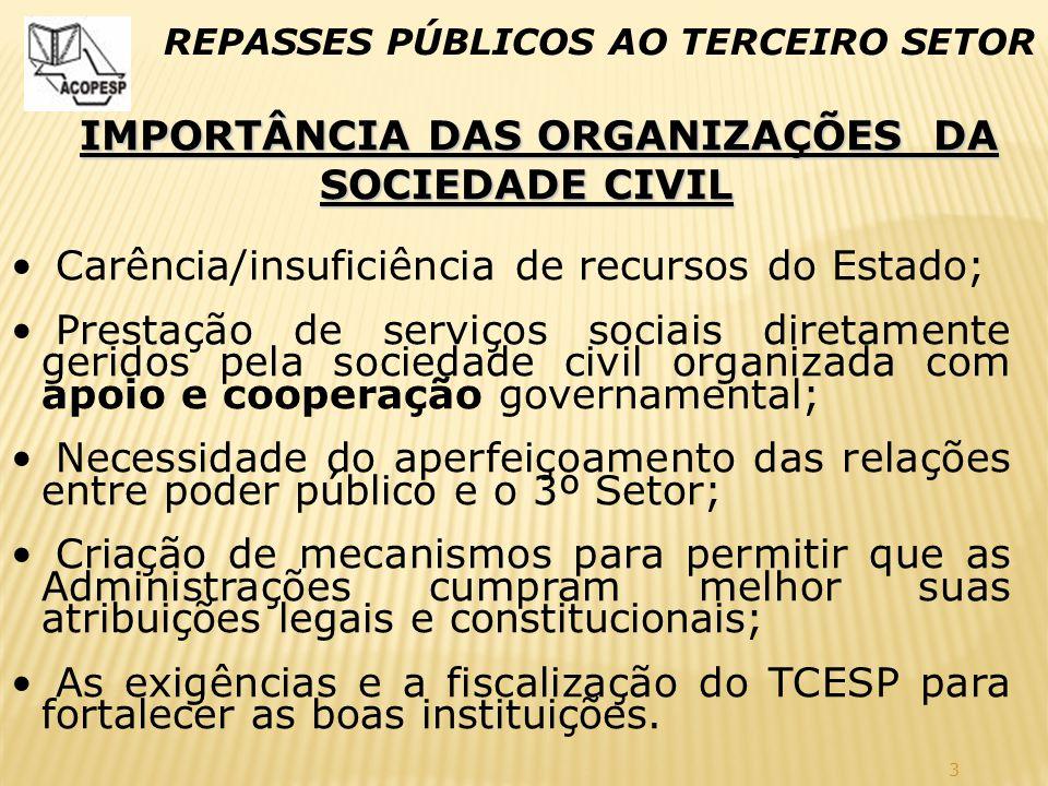 IMPORTÂNCIA DAS ORGANIZAÇÕES DA SOCIEDADE CIVIL