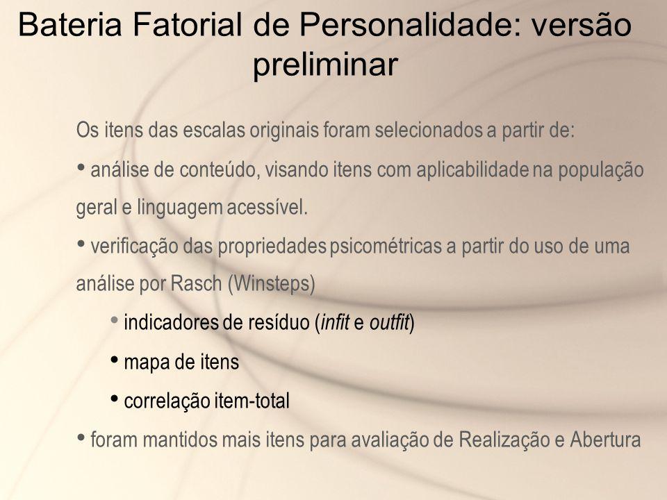 Bateria Fatorial de Personalidade: versão preliminar