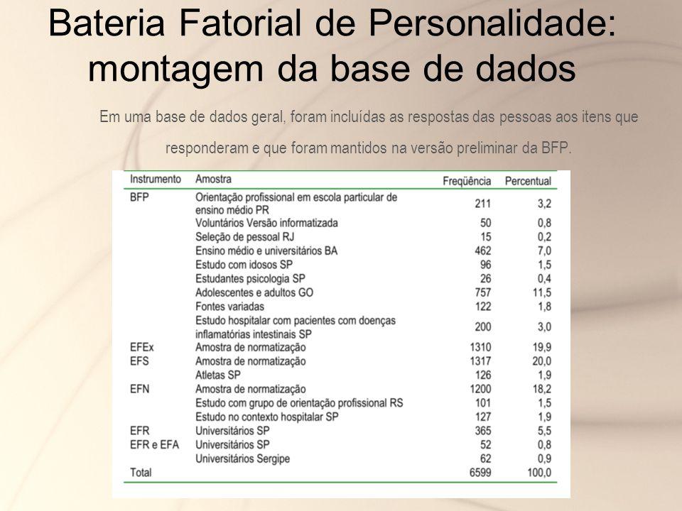 Bateria Fatorial de Personalidade: montagem da base de dados
