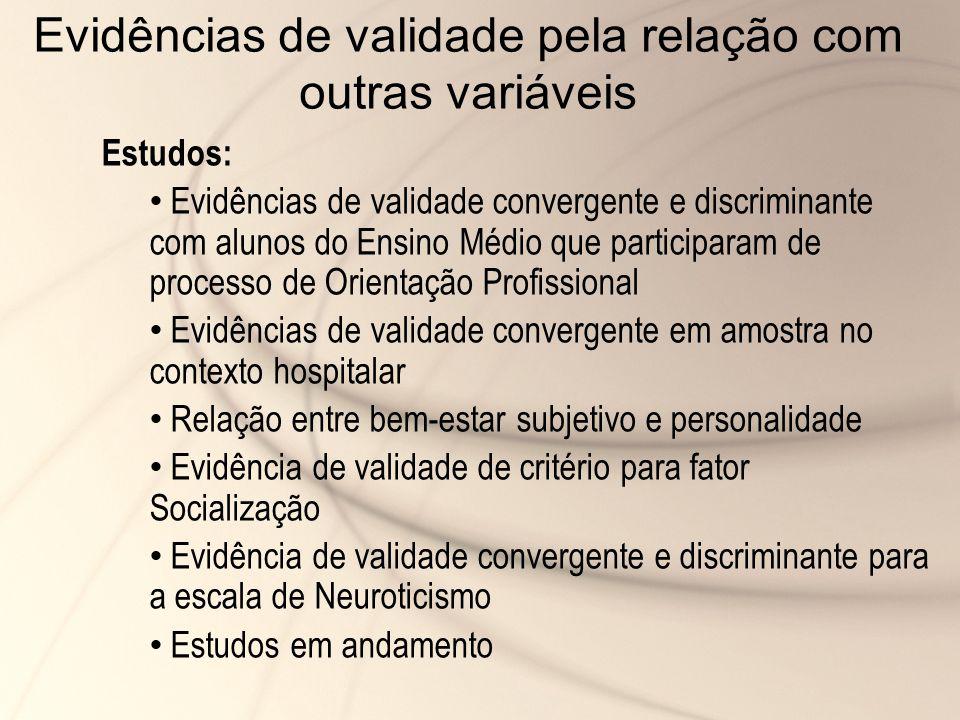 Evidências de validade pela relação com outras variáveis