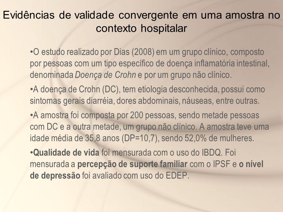 Evidências de validade convergente em uma amostra no contexto hospitalar