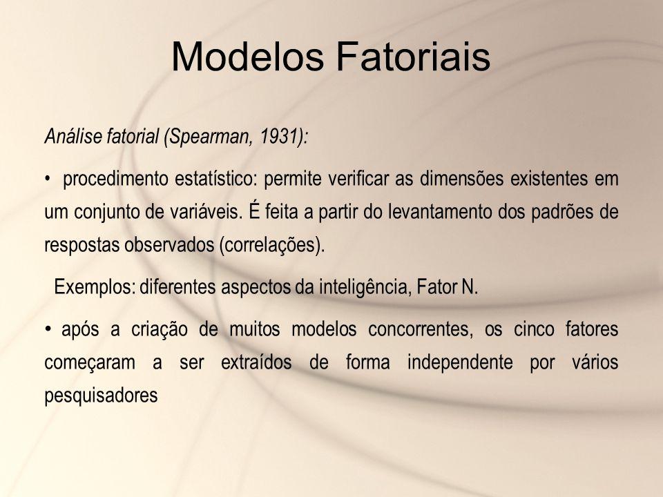 Modelos Fatoriais Análise fatorial (Spearman, 1931):