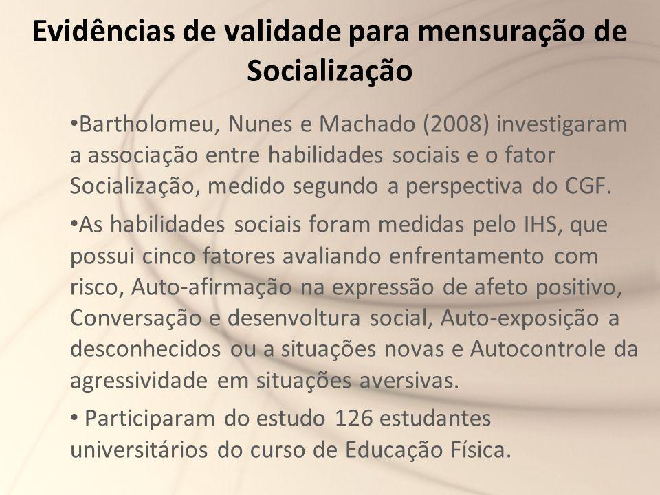 Evidências de validade para mensuração de Socialização