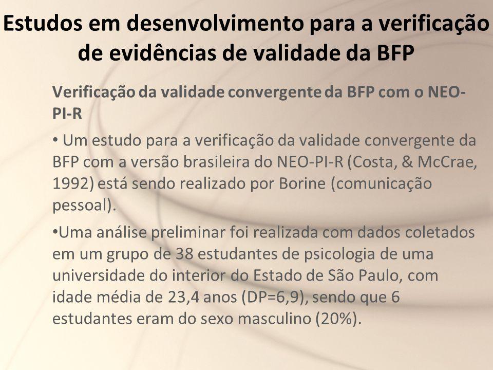 Estudos em desenvolvimento para a verificação de evidências de validade da BFP