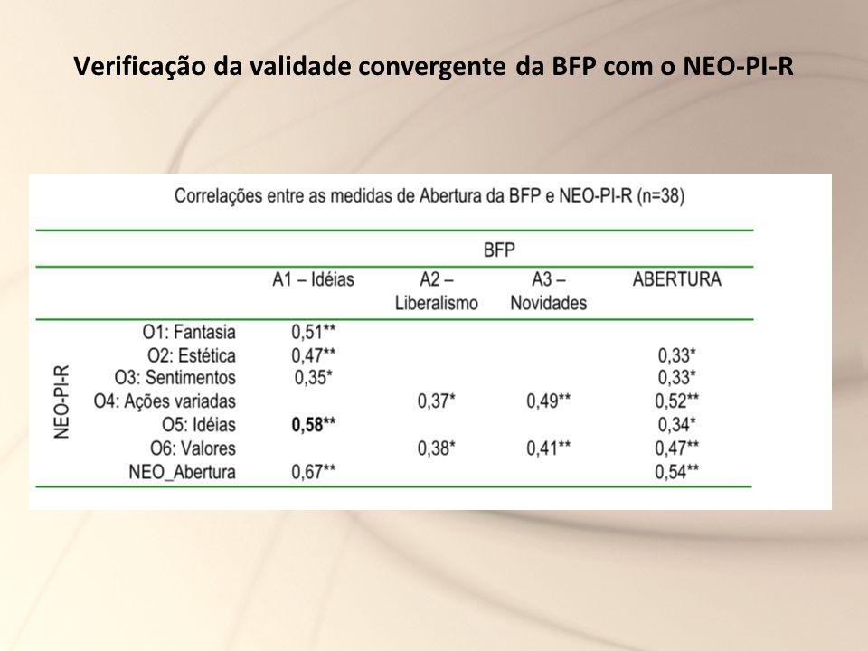 Verificação da validade convergente da BFP com o NEO-PI-R