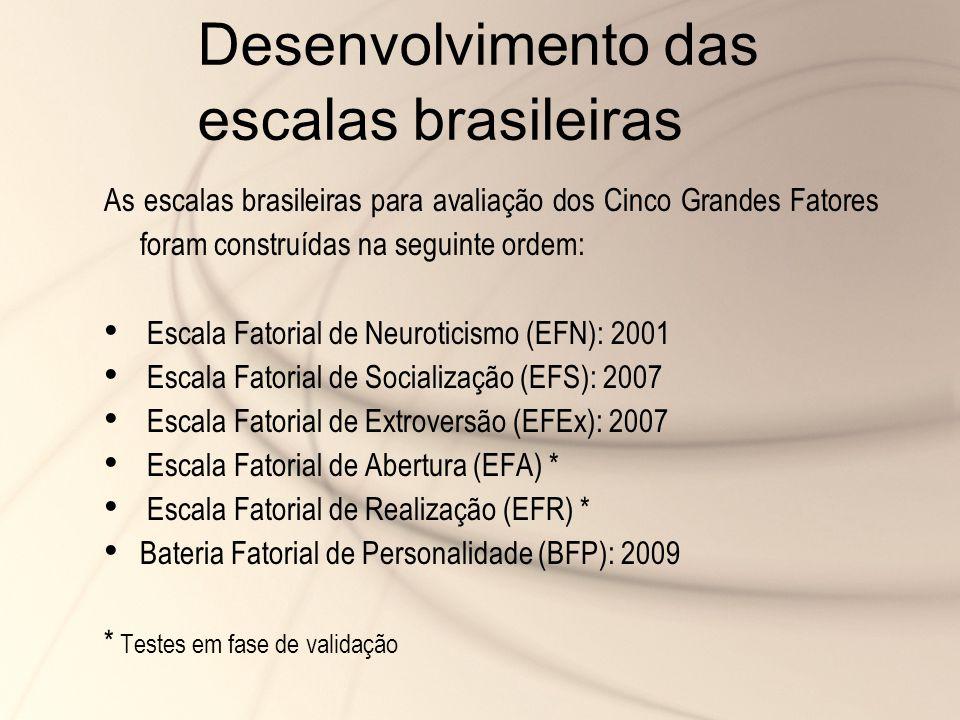 Desenvolvimento das escalas brasileiras