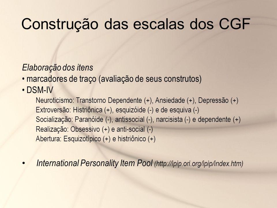 Construção das escalas dos CGF