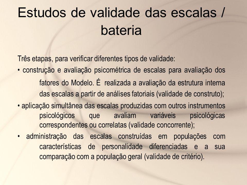 Estudos de validade das escalas / bateria