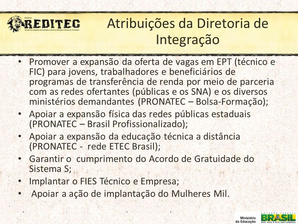 Atribuições da Diretoria de Integração